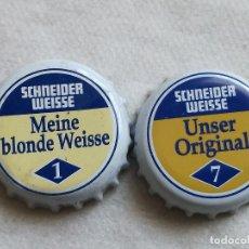 Coleccionismo de cervezas: LOTE 2 CHAPAS KRONKORKEN CAPS TAPPI CERVEZA SCHNEIDER WEISSE. ALEMANIA. Lote 122180559