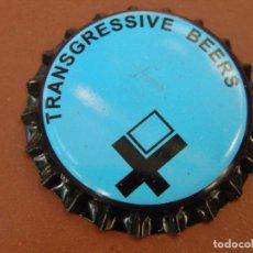 Coleccionismo de cervezas: CHAPA CERVEZA ARTESANA TRANSGRESSIVE BEERS(3). ELCHE.FAB. CHAPA:U---LOTE N. 2788---CARMANJO. Lote 122604443