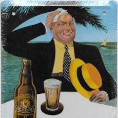 Coleccionismo de cervezas: PLACA O CHAPA DE METAL DE CERVEZA VICTORIA. PRECINTADA. 12,5 X 17,5 CM.. Lote 196562275