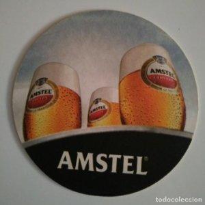 AMSTEL POSAVASOS 10,5cm doble cara CARTON COASTERS CERVEZA BEER