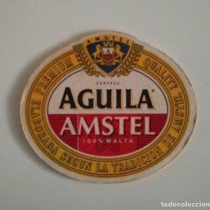 AGUILA AMSTEL POSAVASOS 10,1cm x 8,9cm doble cara CARTON COASTERS CERVEZA BEER