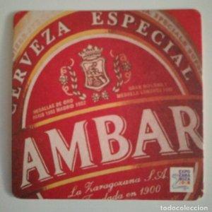 AMBAR CERVEZA ESPECIAL EXPO ZARAGOZA 2008 POSAVASOS 9cm CARTÓN COASTERS CERVEZA BEER