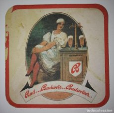 Coleccionismo de cervezas: ANTIGUO POSAVASOS BUDWEISER 9CM IMPRESO POR AMBAS CARAS CARTÓN COASTERS CERVEZA BEER DIFICIL RARA. Lote 124145695