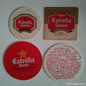 ESTRELLA DAMM LOTE 4 POSAVASOS CARTON COASTERS CERVEZA BEER BIER BIERE