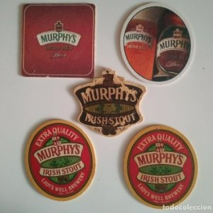 MURPHY'S IRISH STOUT CORK IRELAND LOTE 5 POSAVASOS CARTON COASTERS CERVEZA BEER BIER