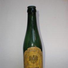 Coleccionismo de cervezas: BOTELLA CERVEZA BAVIERA BIER-EL AGUILA NEGRA, TERCIO, COLLOTO-OVIEDO, ETIQUETA, VIDRIO VERDE. Lote 126014803