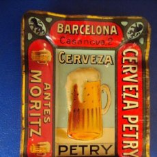 Coleccionismo de cervezas: (PUB-180654)CENICERO DE LATA CERVEZA PETRY - ANTES MORITZ. Lote 126242071