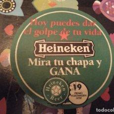 Coleccionismo de cervezas: POSAVASOS CERVEZA HEINEKEN MIRA TU CHAPA Y GANA TRASERA DIFERENTE. Lote 126997287