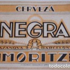 Coleccionismo de cervezas: ANTIGUA ETIQUETA CERVEZA MORITZ. Lote 127519527
