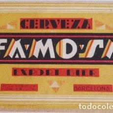 Coleccionismo de cervezas: ANTIGUA ETIQUETA CERVEZA MORITZ. Lote 127519599