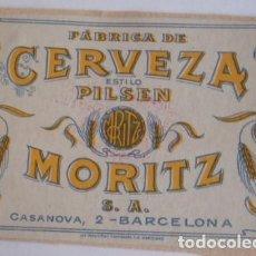 Coleccionismo de cervezas: ANTIGUA ETIQUETA CERVEZA MORITZ. Lote 127519651
