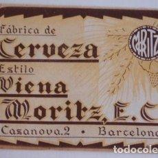 Coleccionismo de cervezas: ANTIGUA ETIQUETA CERVEZA MORITZ. Lote 127519707