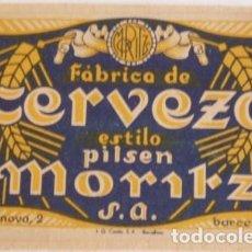 Coleccionismo de cervezas: ANTIGUA ETIQUETA CERVEZA MORITZ. Lote 127519763
