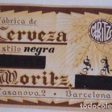 Coleccionismo de cervezas: ANTIGUA ETIQUETA CERVEZA MORITZ. Lote 127519835