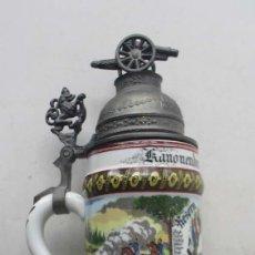 Coleccionismo de cervezas: JARRA RESERVISTENKRUG EN PORCELANA ALEMANA - REGIMIENTO DE ARTILLERIA. Lote 128118631