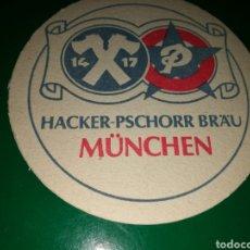 Coleccionismo de cervezas: ANTIGUO POSAVASOS DE CERVEZA HACKER- PSCHORR BRAU DE MUNICH. Lote 128349094