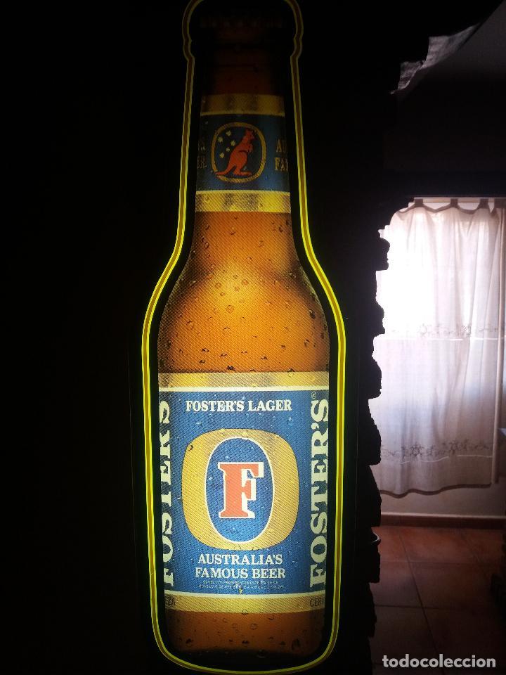 CERVEZA CARTEL LUMINOSO FOSTER LAGE (Coleccionismo - Botellas y Bebidas - Cerveza )