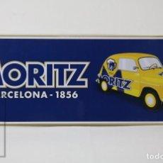 Coleccionismo de cervezas: PLACA / CHAPA METAL PUBLICITARIA - CERVEZAS MORITZ, BARCELONA 1856- COCHE -MEDIDAS 60 X 22 CM - #CCB. Lote 176324929