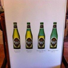 Coleccionismo de cervezas: CARTEL CERVEZA CARLSBERG. HORARIO CIUDADES LONDON, MADRID, HONG KONG Y RÍO DE JANEIRO.. Lote 130017911