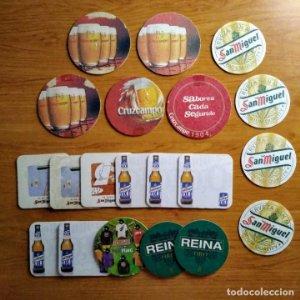 Lote de 21 posavasos de cervezas Españolas. San Miguel, Cruzcampo, Reina, Desperados