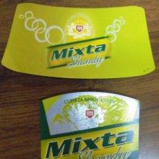 Coleccionismo de cervezas: ETIQUETA DE CERVEZA MAHOU MIXTA SHANDY CERVEZA SABOR LIMON. COMPLETAMENTE NUEVA. SIN USAR.. Lote 187397817