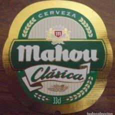 Coleccionismo de cervezas: ETIQUETA DE CERVEZA MAHOU CLASICA . ETIQUETA COMPLETAMENTE NUEVA. SIN USAR.. Lote 132901454