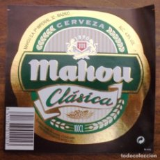 Coleccionismo de cervezas: ETIQUETA DE CERVEZA MAHOU CLASICA . ETIQUETA COMPLETAMENTE NUEVA. SIN USAR. . Lote 132901522