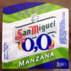 Coleccionismo de cervezas: ETIQUETA DE CERVEZA SAN MIGUEL 0,0 MANZANA ETIQUETA COMPLETAMENTE NUEVA. SIN USAR. . Lote 132901594