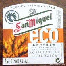 Coleccionismo de cervezas: ETIQUETA DE CERVEZA SAN MIGUEL ECO ETIQUETA COMPLETAMENTE NUEVA. SIN USAR. . Lote 132901630