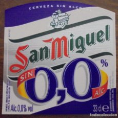 Coleccionismo de cervezas: ETIQUETA DE CERVEZA SAN MIGUEL 0,0 SIN ALC. ETIQUETA COMPLETAMENTE NUEVA. SIN USAR. 33CL. Lote 132901850