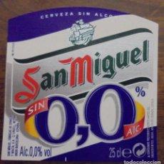 Coleccionismo de cervezas: ETIQUETA DE CERVEZA SAN MIGUEL 0,0 SIN ALC. ETIQUETA COMPLETAMENTE NUEVA. SIN USAR. 25CL. Lote 132901894