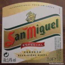 Coleccionismo de cervezas: ETIQUETA DE CERVEZA SAN MIGUEL ESPECIAL. ETIQUETA COMPLETAMENTE NUEVA. SIN USAR. 25 CL. Lote 132901938
