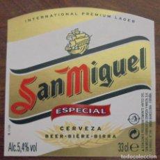 Coleccionismo de cervezas: ETIQUETA DE CERVEZA SAN MIGUEL ESPECIAL. ETIQUETA COMPLETAMENTE NUEVA. SIN USAR. 33 CL. Lote 132902370