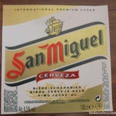 Coleccionismo de cervezas: ETIQUETA DE CERVEZA SAN MIGUEL ETIQUETA COMPLETAMENTE NUEVA. SIN USAR. 100 CL. Lote 132902426