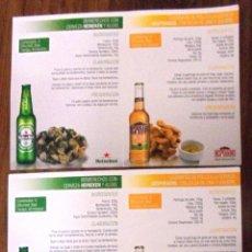 Coleccionismo de cervezas: LOTE DE RECETAS CON CERVEZA GUINNESS, CRUZCAMPO, HEINEKEN, DESPERADOS. 8 DISTINTAS. . Lote 132912730