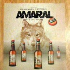 Coleccionismo de cervezas: CARTEL PUBLICITARIO AMBAR 1900 ZARAGOZA EVA AMARAL HACIA LO SALVAJE CONCIERTO HUESCA 2012. Lote 132949814