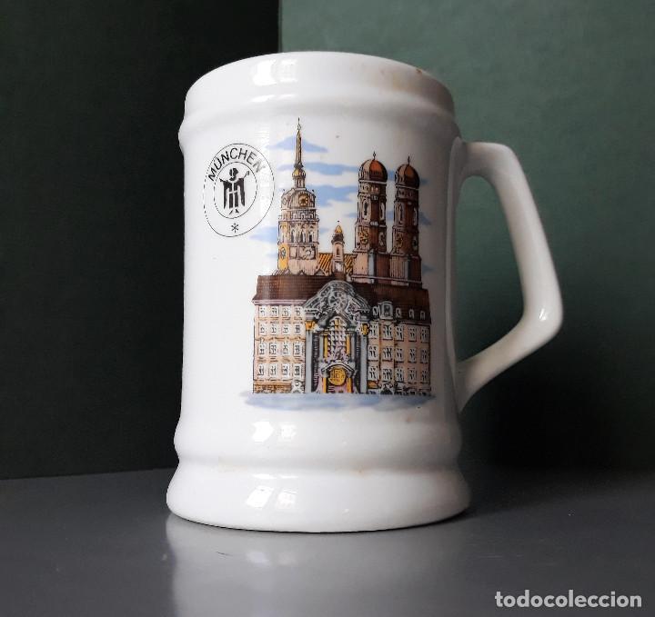 JARRA CERVEZA RECUERDO DE MÜNCHEN MUNIC PORCELANA LOZA SERIGRAFIADA MEPROSA JUNKERS (Coleccionismo - Botellas y Bebidas - Cerveza )