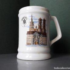 Coleccionismo de cervezas: JARRA CERVEZA RECUERDO DE MÜNCHEN MUNIC PORCELANA LOZA SERIGRAFIADA MEPROSA JUNKERS. Lote 133450322