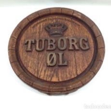 Coleccionismo de cervezas: TAPA BARRIL DE CERVEZA TUBORG. 42 CM DIÁMETRO.. Lote 134716522