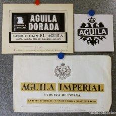 Coleccionismo de cervezas: CERVEZA EL AGUILA - 3 ANTIGUAS PRUEBAS DE IMPRENTA ORIGINALES, RECORTE Y PINTADAS A MANO. Lote 135026238