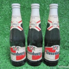 Coleccionismo de cervezas: LOTE 3 BOTELLAS CERVEZA KRONENBOURG 1664 25CL. AÑO 1994 CHAPAS SIN ABRIR. Lote 135208182