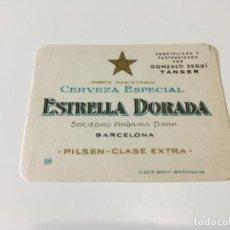 Coleccionismo de cervezas: ETIQUETA CERVEZA ESTRELLA DORADA DAMM BARCELONA EMBOTELLADA EN TANGER NUEVA ... ZKR. Lote 135295458