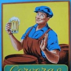 Coleccionismo de cervezas: CARTEL PUBLICIDAD CERVEZA , CERVEZAS LA ZARAGOZANA , PINTADO A MANO , PINTURA ORIGINAL. Lote 138689814