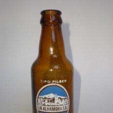 Coleccionismo de cervezas: BOTELLA CERVEZA *LA ALHAMBRA S.A.* 20 CL. TIPO-PILSEN, GRANADA, SERIGRAFIADA . Lote 139114686