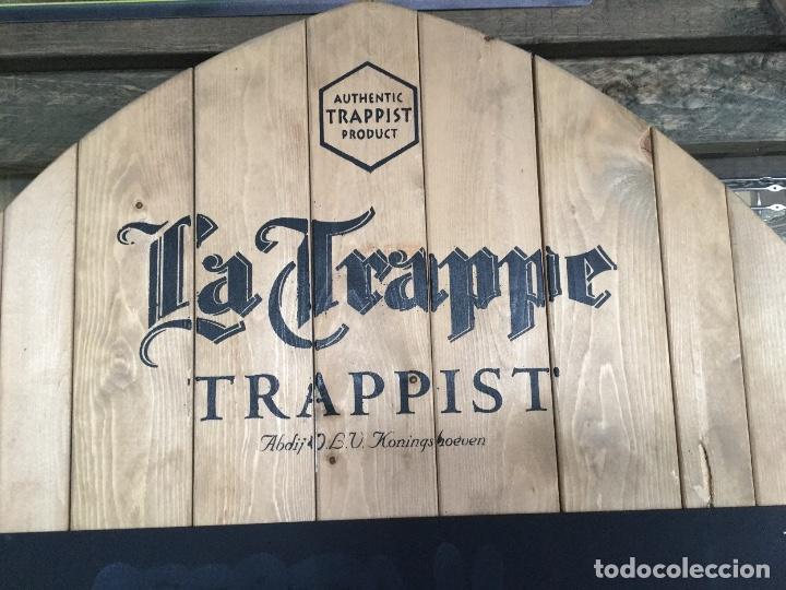 Coleccionismo de cervezas: Gran cartel pizarra de madera cerveza LA TRAPPE - Foto 2 - 139299874