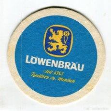 Coleccionismo de cervezas: POSAVASOS CERVEZA LÖWENBRAÜ CARTON DURO SIN USO IMAGENES DE 2 CARAS. Lote 140977630