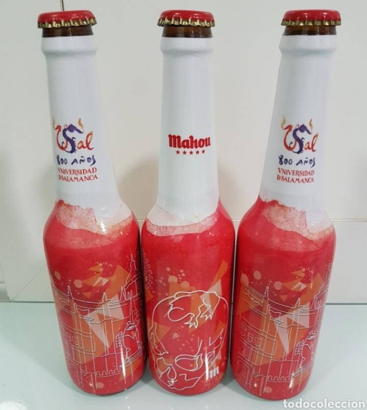 TRES BOTELLINES VACÍOS MAHOU 800 ANIVERSARIO UNIVERSIDAD DE SALAMANCA (Coleccionismo - Botellas y Bebidas - Cerveza )