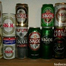Coleccionismo de cervezas: LOTE DE LATAS DE CERVEZA SKOL. Lote 141729210