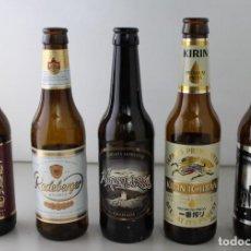 Coleccionismo de cervezas: LOTE DE 5 BOTELLAS DE CERVEZA. ESTÁN VACÍAS. Lote 145776166