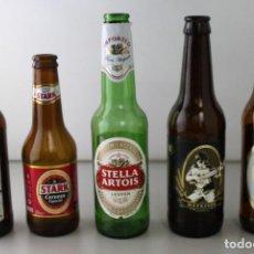 Coleccionismo de cervezas: LOTE DE 5 BOTELLAS DE CERVEZA. ESTÁN VACÍAS. Lote 145776178